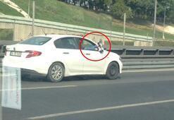E-5te şoke eden görüntü Otomobildeki şahıs ayaklarını camdan çıkarttı