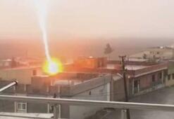 Mardinde bir evin çatısına yıldırım düştü
