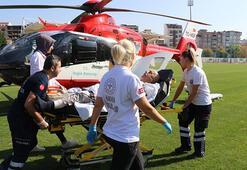 Aort damarı yırtılan hastaya ambulans helikopterle sevk