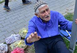 86 yaşında, bahçesinden topladığı cevizleri satıyor