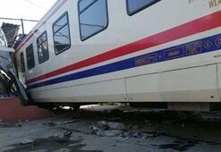 Yolcu treni, bakım atölyesindeki odaya çarptı