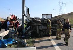 Kuzey Marmara Otoyolu'nda kamyonet devrildi