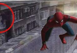 O anlar kamera kayıttaydı Örümcek adam gibi...