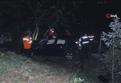 Otomobil 60 metrelik uçuruma yuvarlandı
