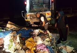 2 ton çöpün içinde 1 saat, para dolu poşeti aradı