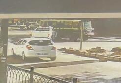 Minibüsün kaza anı güvenlik kamerasında