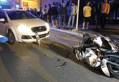 Bursada otomobille çarpışan motosikletin sürücüsü ağır yaralandı