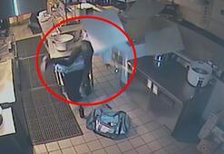 Restoranın mutfağına girmeye çalışan hırsız, tavandan yere çakıldı