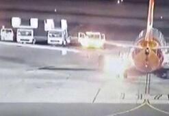 Havalimanına iniş yapan uçak birden alev aldı