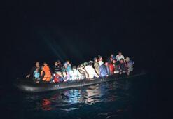 Lastik bot içinde 42 kaçak göçmen yakalandı