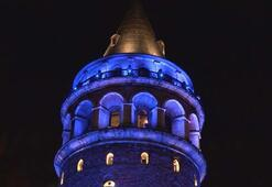 Galata Kulesi maviye büründü... İşte nedeni