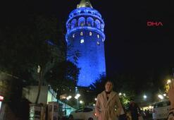 Galata Kulesi maviye büründü