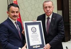 Dünya rekoru belgesi Cumhurbaşkanı Erdoğana verildi