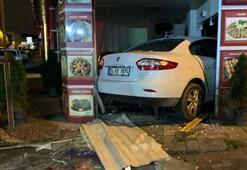 Otomobil lokantaya daldı Ortalık savaş alanına döndü