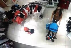 Anne ve kızı denediği kıyafetleri çaldı