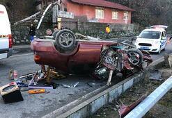 Ehliyetsiz sürücü, önce takla attı sonra direği yıktı