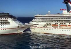 Meksikada lüks yolcu gemilerinin çarpışma anı kamerada