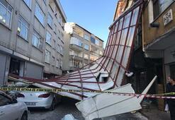 Şok görüntü İstanbulda lodos çatıyı uçurdu
