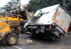 1 tonluk demir sac kamyonetin kasasına saplandı