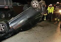 Otomobil su kanalına devrildi 1 ölü, 2 yaralı