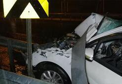 Feci kaza Otomobil ok gibi saplandı