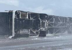 Kayseride yolcu otobüsü devrildi, çok sayıda yaralı var