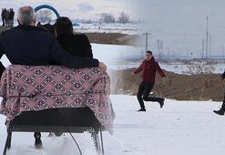 Türk filmi gerçek oldu Belediye başkanının atlı kızağın üzerinde zor anları
