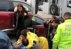 Çekicinin kaldırdığı araçtan düşen kadın yaralandı