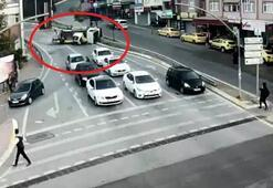 Freni patlayan vinç 4 otomobili böyle biçti