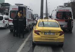 E-5'te ticari taksi kaza yaptı