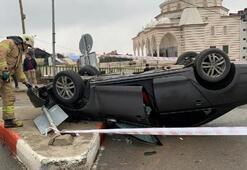 Otomobil takla attı Sürücüyü itfaiye kurtardı