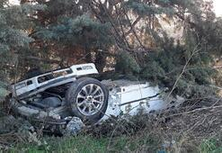 Silivride buzlanan yolda kaza 1 ölü, 1 yaralı