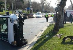 Beşiktaştaki kaza trafikte yoğunluk oluşturdu