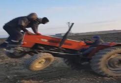Şaha kalkan traktör 2 kişiyi üzerinden böyle fırlattı