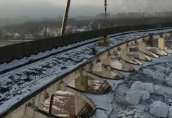 Rusyada işçilerin çalıştığı tesis çöktü O anlar kamerada...