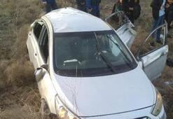 Takla atan otomobildeki 8 kişi ölümden döndü