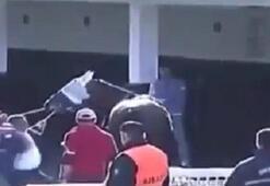 Yarış atına şiddet canlı yayına yansıdı