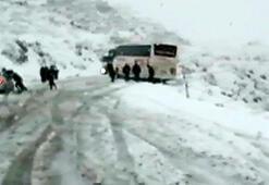 Yolcu otobüsü, uçurumun kenarında durdu