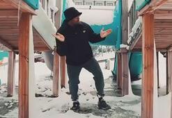 Daniel Sturridgenin kar üstündeki dansı beğeni topladı