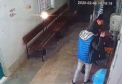 Camideki yardım kutusu hırsızlığı kamerada