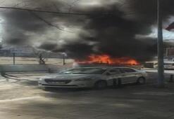 Son dakika... Ümraniyede sürücü kursuna otobüs yandı