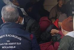 Minibüste balık istifi 29 kaçak göçmen