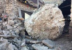 Müştemilata 10 tonluk kaya düştü Ölümden son anda kurtuldular