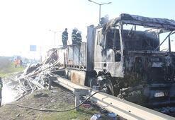 Otoyolda parke yüklü TIR alev alev yandı