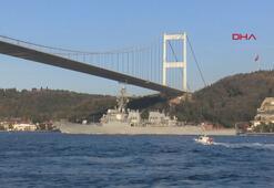 ABD savaş gemisi İstanbul Boğazından böyle geçti
