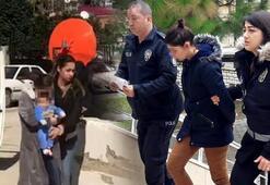 Hırsızlık şüphelisi kadın, bebeğiyle emniyete getirildi