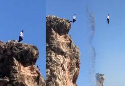 Konyaaltı Sahilinde yaşandı 40 metreden çivileme atladı