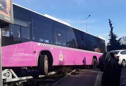Son dakika... İstanbulda korkutan kaza İçi yolcu dolu otobüs otomobil ile çarpıştı