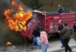 Pazarcılar, yananı damacanayla su dökerek söndürmeye çalıştı