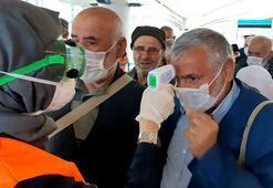 Umreden gelenlere İstanbul Havalimanında koronavirüs önlemi